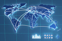 Futuristic touchscreen. Monitor with a world map Royalty Free Stock Images