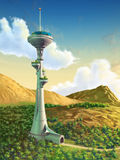 Futuristic tower. In a gorgeous landscape. Digital illustration Royalty Free Stock Photo