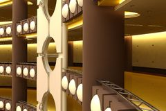 Futuristic trade centre. 3d rendering of the innovation trade centre interior vector illustration