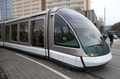 Futuristic tram on the street in Strasbourg Stock Image