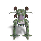 Futuristic transforming scifi robot and spaceship. 3D rendering of a futuristic transforming scifi robot and spaceship with clipping path and shadow over white Royalty Free Stock Image