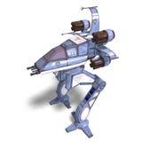Futuristic transforming scifi robot and spaceship. 3D rendering of a futuristic transforming scifi robot and spaceship with clipping path and shadow over white Stock Image