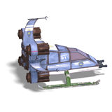 Futuristic transforming scifi robot and spaceship. 3D rendering of a futuristic transforming scifi robot and spaceship with clipping path and shadow over white Royalty Free Stock Images