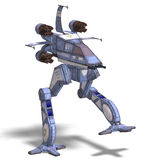 Futuristic transforming scifi robot and spaceship. 3D rendering of a futuristic transforming scifi robot and spaceship with clipping path and shadow over white Stock Photography