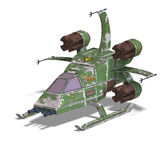 Futuristic transforming scifi robot and spaceship. 3D rendering of a futuristic transforming scifi robot and spaceship with clipping path and shadow over white Royalty Free Stock Photos
