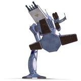 Futuristic transforming scifi robot and spaceship. 3D rendering of a futuristic transforming scifi robot and spaceship with clipping path and shadow over white Stock Photos