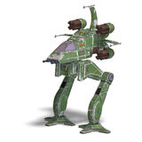 Futuristic transforming scifi robot and spaceship. 3D rendering of a futuristic transforming scifi robot and spaceship with clipping path and shadow over white Royalty Free Stock Photography