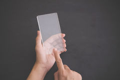 Futuristic transparent cell phone mock up Royalty Free Stock Images