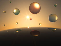 Futuristic transparent Spheres in Front of the Sun. Futuristic transparent colorful Spheres in Front of the Sun Stock Photography
