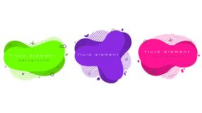Futuristic trendy abstract banner set. Flat geometric fluid elements vector illustration