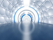 Futuristic tunnel like spaceship corridor. With glowing lights Royalty Free Stock Images