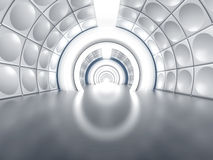Futuristic tunnel like spaceship corridor Stock Photo