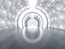 Futuristic tunnel like spaceship corridor. With glowing lights Stock Photo