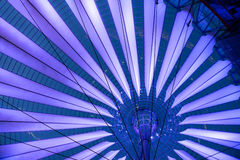 Futuristic umbrella-like tent roof of Sony Center in Berlin Stock Image