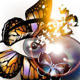 Futuristic unusial background with eye and butterfly Stock Photo