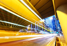 Futuristic urban city night traffic Stock Images