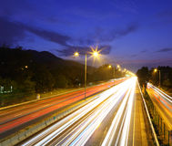 Futuristic urban city night traffic Royalty Free Stock Photos