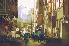 Futuristic urban concept showing people walking in city street Stock Images