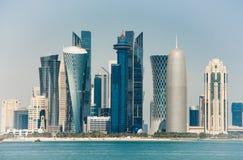 Futuristic urban skyline of Doha, is a city on the coast of the Persian Gulf stock image