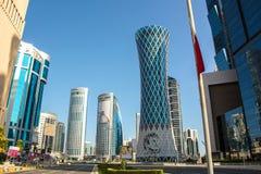 Futuristic urban skyline of Doha, Qatar. Doha is a city on the coast of the Persian Gulf royalty free stock photos