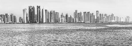 Futuristic urban skyline of Doha, Qatar stock photos