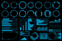 Futuristic user interface elements vector set Stock Photo