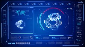 Futuristic user interface HUD GUI digital text number element for cyber technology concept with shallow depth of field dark and gr