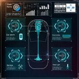 Futuristic user interface. HUD UI. Abstract virtual graphic touch user interface. Cars infographic. Vector science abstract. Vector illustration Royalty Free Stock Photo