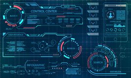 Futuristic User Interface. Virtual Graphic Touch UI for VR. HUD Infographic Elements for Motion Design. Illustration Vector Royalty Free Stock Photography
