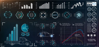 Futuristic users interface. Illustration of futuristic users interface with different charts Royalty Free Stock Images