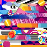 Futuristic vector abstract background made of rounded shapes. Stripes, lines and circles with fashion patterns stock illustration