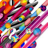Futuristic vector abstract background made of rounded shapes. Stripes, lines and circles with fashion patterns vector illustration