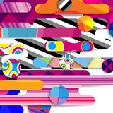 Futuristic vector abstract background made of rounded shapes,. Stripes, lines and circles with fashion patterns stock illustration
