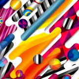 Futuristic vector abstract background made of rounded shapes,. Stripes, lines and circles with fashion patterns royalty free illustration