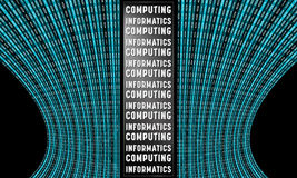 Futuristic vector backdrop. And binary code and the words computing, informatics Stock Photos