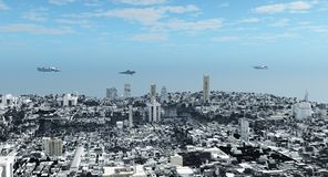 futuristic vetenskap för cityscapefiktion Arkivfoto