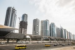 View of Sheikh Zayed Road skyscrapers in Dubai, UAE Royalty Free Stock Images