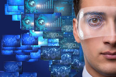 The futuristic vision concept with businessman Royalty Free Stock Photo