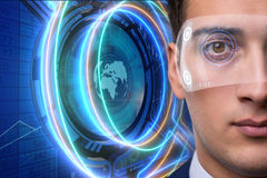 The futuristic vision concept with businessman Stock Photography