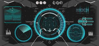 Futuristic VR Head-up Display Design. HUD UI. Futuristic VR Head-up Display Design. Future Technology Display Design. Vitrual Reality in HUD UI style. View from stock illustration