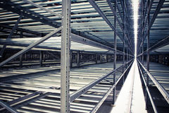Futuristic warehouse. Metallic frames of futuristic storage room Stock Photo