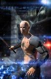 Futuristic warrior cyberpunk hitman. 3D render science fiction illustration Stock Images