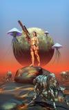 Futuristic warrior girl on alien planet Royalty Free Stock Photos