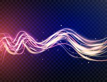 Futuristic waves in speed motion. Blue and violet wavy dynamic lines with sparkles on transparent background. Magic. Light. Glowing swirl trail. Light painting royalty free illustration
