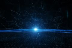 Futuristic wavy cyberspace net with binary numbers Royalty Free Stock Image