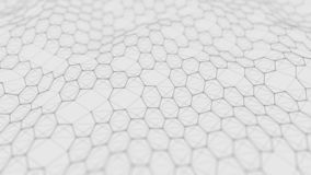 Futuristic white hexagon background. Futuristic honeycomb concept. Wave of particles. 3D rendering stock photos
