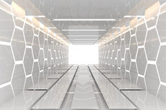 Futuristic White Hexagon Room Royalty Free Stock Photography