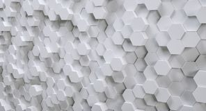 Futuristic white hexagonal background, 3D Photorealistic. White 3D hexagons design structure background. ideal for websites and magazines layouts Stock Photography