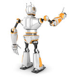 Futuristic white robot pointing finger. 3d render illustration Stock Photography