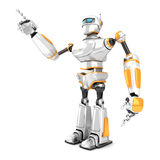 Futuristic white robot pointing finger Stock Images